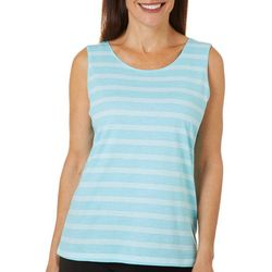 Coral Bay Womens Simple Stripe Print Scoop Neck Tank