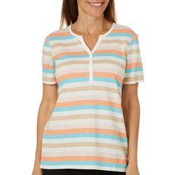 Coral Bay Womens Striped Split Neck Short Sleeve