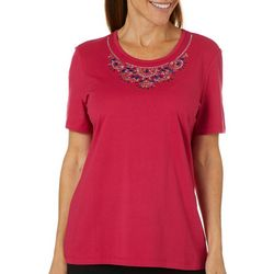 Coral Bay Womens Solid Jeweled Neck Short Sleeve Top