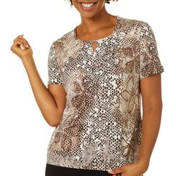 Coral Bay Womens Mixed Animal Print Keyhole Short Sleeve Top