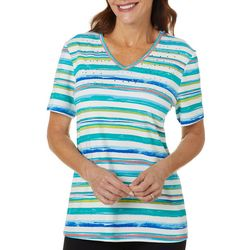 Coral Bay Womens Scratchy Stripes Jeweled V-Neck Top