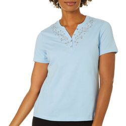 Coral Bay Womens Solid Jeweled Split Neck Short Sleeve Top
