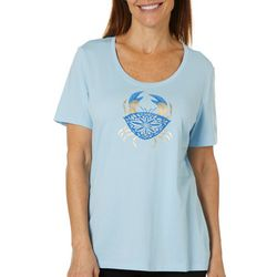 Coral Bay Womens Foil Crab Print Short Sleeve Top