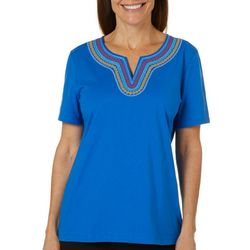 Coral Bay Womens Embroidered Split Neck Short Sleeve Top