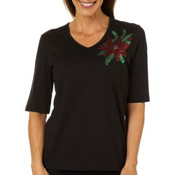 Coral Bay Womens Holiday Poinsettia Embellished Top