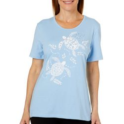 Coral Bay Womens Embellished Sea Turtles Top