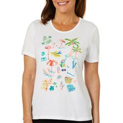 Coral Bay Womens Solid Jeweled Beach Supplies Top