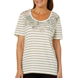 Coral Bay Womens Striped Tropical Leaf Top