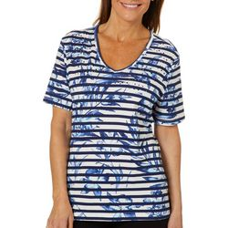 Coral Bay Womens Embellished Floral Stripe Print Top