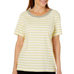 Coral Bay Womens Striped Embroidered Bib Top