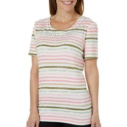 Coral Bay Womens Striped Jewel Neck Top