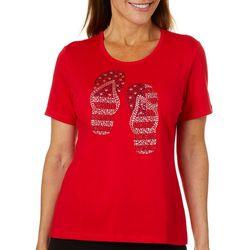 Coral Bay Womens Americana Jeweled Flip Flops Top