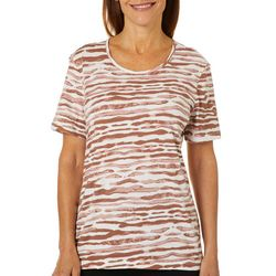 Coral Bay Womens Zebra Print Round Neck Short Sleeve Top
