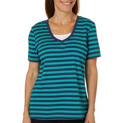 Coral Bay Womens Striped Faux Layer Short Sleeve Top