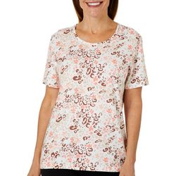 Coral Bay Womens Colorful Leopard Print Short Sleeve Top