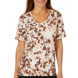 Coral Bay Womens Floral Print V-Neck Top