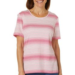 Coral Bay Womens Jewel Tone Stripe Short Sleeve Top