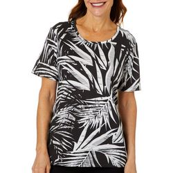 Coral Bay Womens Abstract Leaf Print Round Neck Top