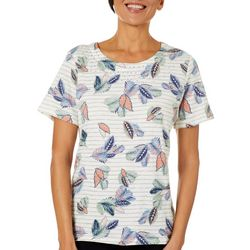Coral Bay Womens Striped Embellished Tropical Leaf Top