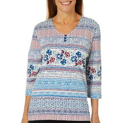 Coral Bay Womens Mixed Floral Biadere V-Neck Top