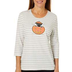 Coral Bay Womens Striped Embroidered Cat Jack-o-latern Top