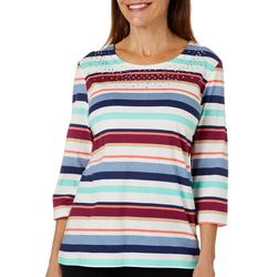 Coral Bay Womens Embellished Fall Stripe Top