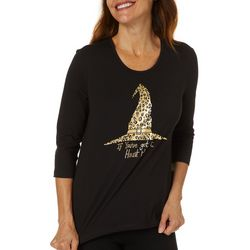 Coral Bay Womens Halloween Witch Hat Screen Print Top