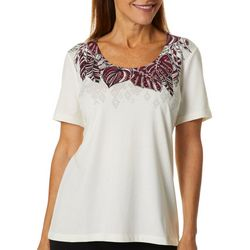 Coral Bay Womens Leaf Print Embellished Scoop Neck Top