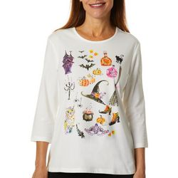 Coral Bay Womens Embellished Witch Graphic Top