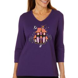 Coral Bay Womens Embroidered Haunted House Top
