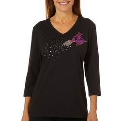 Coral Bay Womens Embroidered Flying Witch V-Neck Top