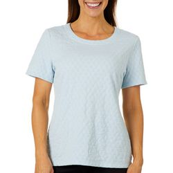 Coral Bay Womens Textured Round Neck Solid Top