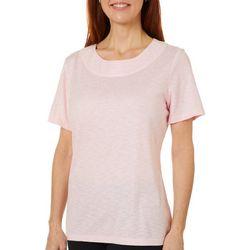 Coral Bay Womens Shimmer Print Boat Neck Short Sleeve Top