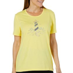 Coral Bay Womens Embellished Jewel Lighthouse Top