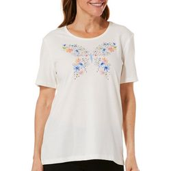 Coral Bay Womens Embellished Floral Butterfly Top