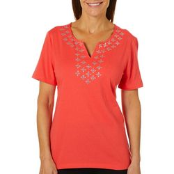 Coral Bay Womens Embellished Diamonds Notch Neck Top