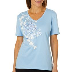 Coral Bay Womens Embroidered Floral V-Neck Top