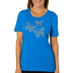 Coral Bay Womens Embellished Butterfly Trio Top