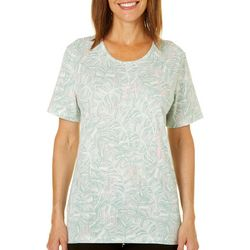 Coral Bay Womens Palm Leaf Vertical Dot Print Top