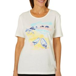 Coral Bay Womens Beached Boats Short Sleeve Top