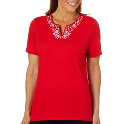 Coral Bay Womens Embroidered Starfish Notch Neck Top
