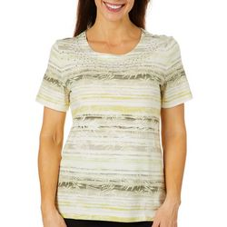 Coral Bay Womens Embellished Striped Tropical Leaf Top
