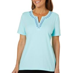 Coral Bay Womens Embroidered Floral Notch Neck Top