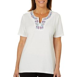 Coral Bay Womens Embroidered Fish Notch Neck Top