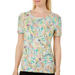 Coral Bay Womens Spunky Leaves Short Sleeve Top