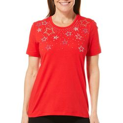 Coral Bay Womens Jeweled Stars Short Sleeve Top