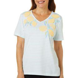Coral Bay Womens Lemon Screen Print Striped V-Neck Top