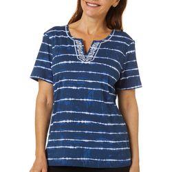 Coral Bay Womens Tie Dye Stripe Split Neck Short Sleeve Top