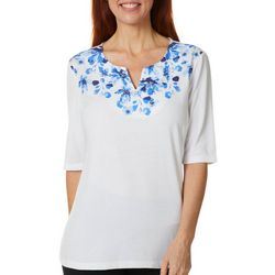 Coral Bay Womens Embellished Floral Screen Print Top