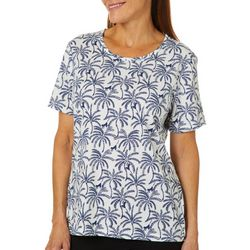 Coral Bay Womens Monkey & Palm Tree Print Top